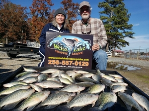 Caught 11-17-19...Out on a Half-day trip fishing with Ken & Linda Muehlenfeld from Auburn, Alabama. Great morning and we caught a big stringer of crappie!